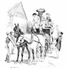 A stagecoach is reaching its destination, greeted by a stable boy as passengers start getting off