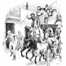 A youth pulls a stagecoach horse by the reins, looking at a man flinging his whip at another horse