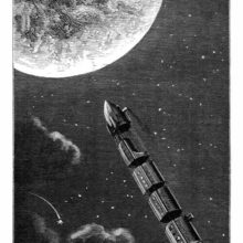 A rocket pulling four separate compartments is darting toward the moon across the starry sky