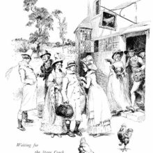 Passengers are seen coming out of a country inn to catch the soon-to-arrive stagecoach.