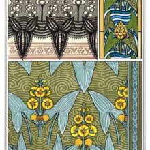 Three Art Nouveau patterns with floral design based on broadleaf arrowhead leaves and flowers
