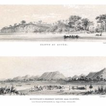 Set of two panoramic illustrations showing distinct locations on the course of the river Niger