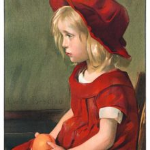 A melancholy young girl dressed in red is seen sitting on a chair holding an orange in her lap
