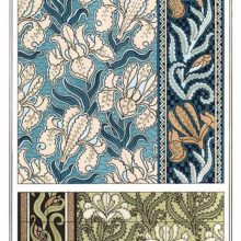 Set of three Art Nouveau ornamental patterns with floral design based on iris flowers and leaves