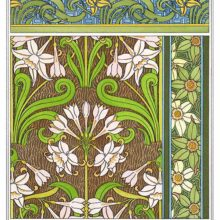 Set of four Art Nouveau ornamental patterns with floral design based on jonquil flowers and leaves