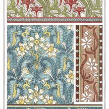 Four Art Nouveau ornamental patterns with floral design showing stylized jonquils