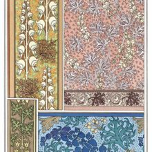 Four Art Nouveau ornamental patterns with floral design based on monkshood flowers and leaves