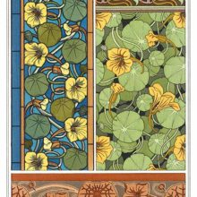 Four Art Nouveau ornamental patterns with floral design based on nasturtium flowers and leaves