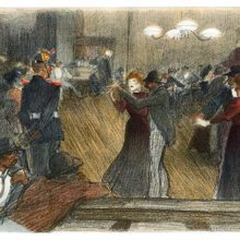 View of a mixed crowd in a busy dance hall, showing couples dancing while others stand watching