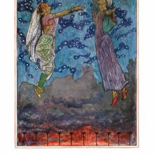 A woman and a man are floating in the air, rising above the clouds darkening the fiery sunset