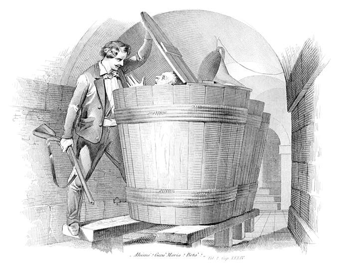 A man with a shotgun lifts the lid of a large wooden vat inside which someone was trying to hide