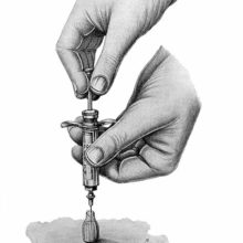 The hands of an invisible practitioner are seen filling a syringe from a vial