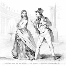 A dapper and complacent-looking man tries to get the attention of a woman who looks at him scornfully