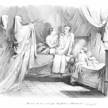 A man lying in bed with his wife is visited by two solemn and imposing ghosts cloaked in shrouds