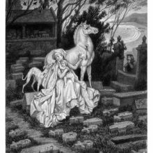 A woman is sitting in a graveyard with a child in her lap, stroking a wounded horse behind her
