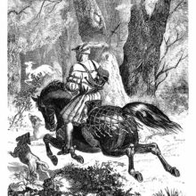 A Renaissance era hunter rides on horseback, away from the viewer, in the pursuit of a white deer