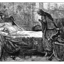 A woman is tiptoeing toward an old man sleeping in his bed with a key around his neck
