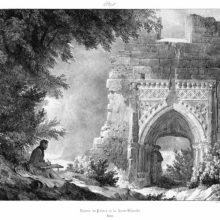 an artist sitting beneath a tree draws a medieval archway with a man standing in the shadow