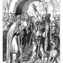 A Celtic warrior raises his arm to take an oath as an older man cries with his head in his hands