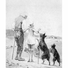 Pinocchio stands on the beach with his father and turns his back to his former companions, the Fox and the Cat