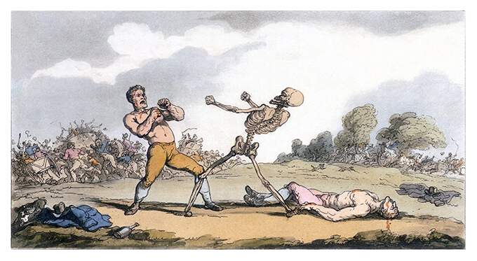 Having knocked out and fatally injured his opponent, a bare-knuckle boxer has to fight Death itself