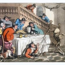 Death is about to stab a hunter hiding under the dining table as the company looks on in shock