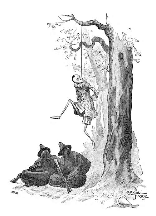 Pinocchio has been hung by the neck by two masked assassins waiting for him to die at the foot of the tree