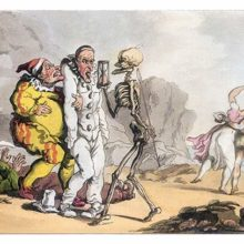 Death holds an hourglass in front of a horror-struck Pierrot, interrupting his tomfoolery