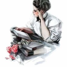 A young woman reads leaning on her hand at a desk cluttered with books across which two roses lie