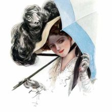 A young woman in a feathered hat looks to the side from under her parasol with a provocative smile