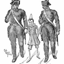 A contrite Pinocchio is seen walking between two stern and imposing policemen
