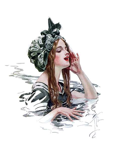 A in a swimming cap stands in the water with a hand cupped around her mouth to call someone