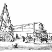 View of the timbered windlass and horse engine used for the boring of the Grenelle artesian well