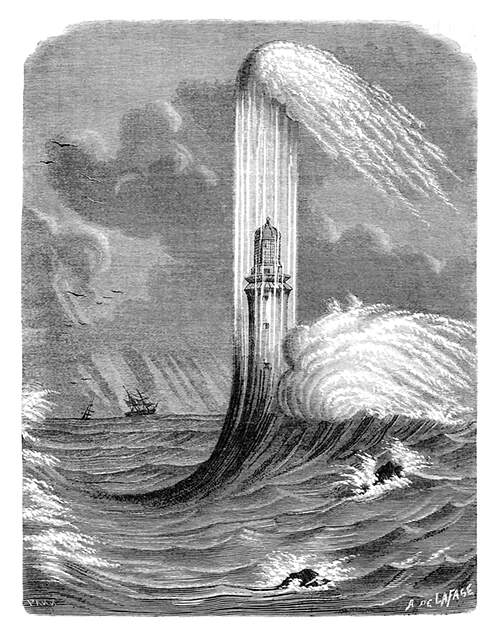 View of the Eddystone Lighthouse in a storm, with waves crashing against it