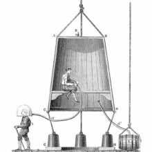 Cross section view of the wooden diving bell designed by Edmond Halley