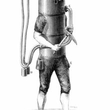 Diver equipped with the diving machine designed by Karl Heinrich Klingert in 1797
