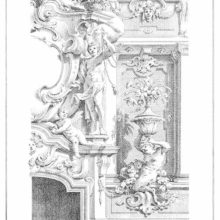 Design for Rococo interior showing a niche with a satyr, a fireplace, and the statue of a youth