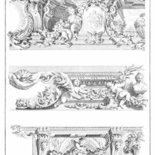 Plate of ornaments showing three models of Rococo friezes with putti and satyrs, foliage, etc.