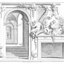 Design for Rococo interior showing a fireplace with statues, an arched door, and foliage ornaments