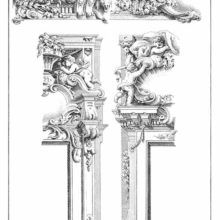 Plate showing designs for two Rococo doors and friezes decorated with putti, scrolls, etc.