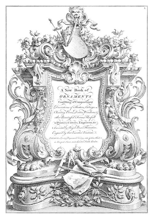Rococo cartouche displaying the attributes of art and architecture among lush foliage scrolls