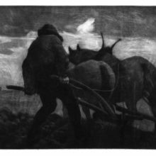 A man is seen from the back plowing a field behind two horses under a cloudy sky
