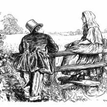 A man and a young country woman are talking together by a fence, facing the open countryside.