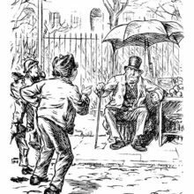 A disgruntled older apple seller is being pestered by a group of street urchins.