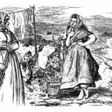 A mature country woman addresses a younger one standing languorously at the gate of the garden
