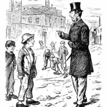 A man in a top hat admonishes a young working-class boy taking a break with some friends.