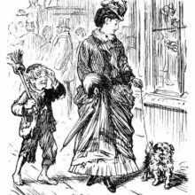 A street urchin ovehears a woman talking to her dog and acts as if she were talking to him