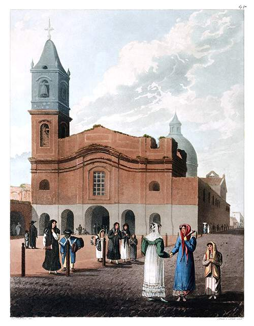 Aquatint showing the Basilica of Our Lady of the Rosary and Santo Domingo Convent in Buenos Aires