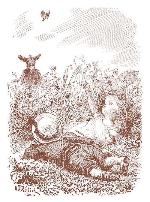 A girl lying in the grass with a little boy points to a butterfly hovering over them