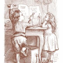 A boy and a girl are leaning on a table, looking at a book with pictures of butterflies